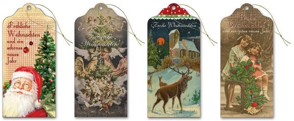 Geschenkanhänger hochwertig Glimmer lang 6,0 x 13,0 cm Nostalgie S1 (40 Stück)