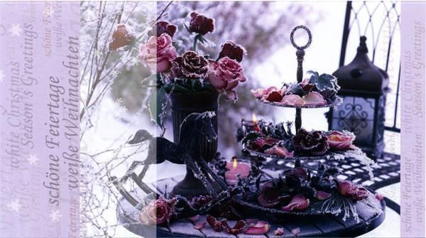 Weihnachtskarten Grußkarten Weiße Weihnacht mit Rosen plano bedruckbar 230 g/m² inklusive Umschlägen Mayspies Prestige 7027 (20 Stück)