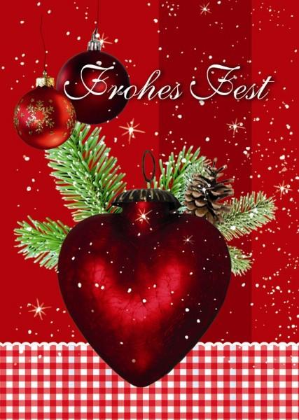 Klammerkarten hochwertig  Weihnachten Glimmer Frohes Fest  22-3949 (10 Stück)