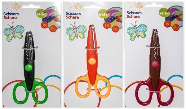 Bastelschere Konturenschere Schere 3 Farben/Muster Schnittmuster Kreativ (9 Stück)