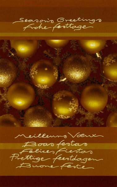 Weihnachtskarten Grußkarten Goldene Weihnachtskugeln mit internationalen Grüßen plano vorgefalzt bedruckbar 250 g/m² inklusive Umschlägen mit Seidenfutter Mayspies 7764 (20 Stück)