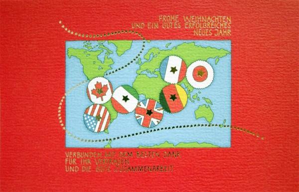 Weihnachtskarten bedruckbar geschäftlich Weltkarte international plano vorgefalzt 230 g/m² Grußkarten inklusive Umschlägen Mayspies 7586 (20 Stück)