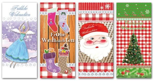 Mini Weihnachtskarten Glimmer lang 6,0 x 13,0 cm Fröhliche Weihnachten S1 (40 Stück)