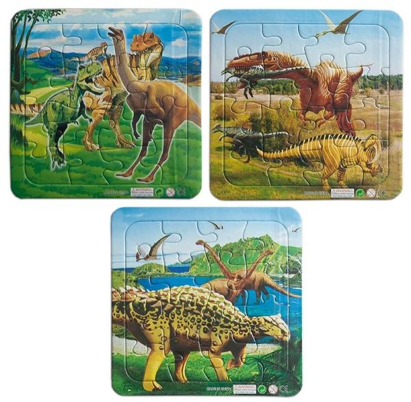 Verschiedene Puzzles Puzzle Dinomotive 14 x 14 cm je 16 tlg. Tiere Dino Mitgebsel (6 Stück)
