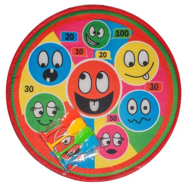 Soft Dartspiel Klett Dart Board 38 cm 4 Pfeile Wurfscheibe Dartscheibe Smile (1 Stück)