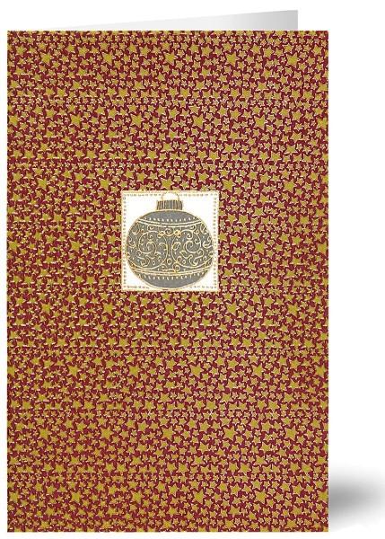 Weihnachtskarten Grußkarten Goldene Kugel im Sternenlabyrinth Strukturpapier geprägt mit Goldfolie plano vorgefalzt bedruckbar 250 g/m² inklusive Umschlägen mit Seidenfutter Mayspies 7876 (20 Stück)