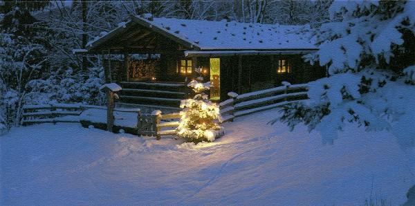 Weihnachtskarten Grußkarten Foto Weihnachten in der Hütte plano vorgefalzt bedruckbar 230 g/m² inklusive Umschlägen Mayspies 7690 (20 Stück)