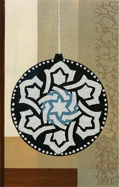 Weihnachtskarten Grußkarten Christbaumkugel Barock ohne Text Tannenbäume mit Glimmer und Leineneffekt plano vorgefalzt bedruckbar 250 g/m² inklusive Umschlägen mit Seidenfutter Mayspies 7803 (20 Stück)