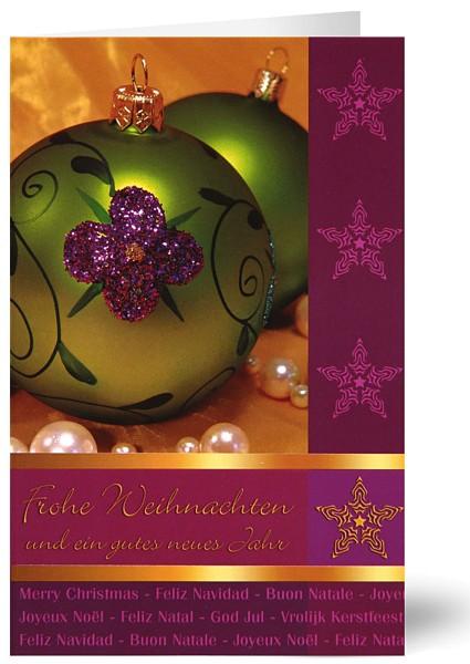 """Weihnachtskarten bedruckbar """"Freundliche Kugeln"""" mit Internationalen Grüßen geprägt plano vorgefalzt 250 g/m² Grußkarten inklusive Umschlägen mit Seidenfutter Mayspies 7871 (20 Stück)"""