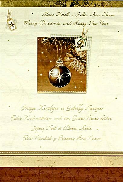 Weihnachtskarten Grußkarten Weihnachtskugel mit internationalen Grüßen mit Goldfolie und Leineneffekt geprägt plano vorgefalzt bedruckbar 200 g/m² inklusive Umschlägen mit Seidenfutter Mayspies 7821 (20 Stück)