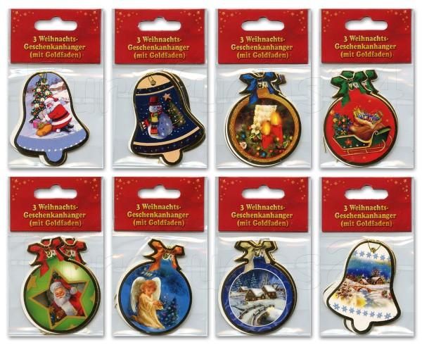 Geschenkanhänger Weihnachten Glocken & Kugeln Anhänger mit Goldfaden 22-0500 (30 Stück)