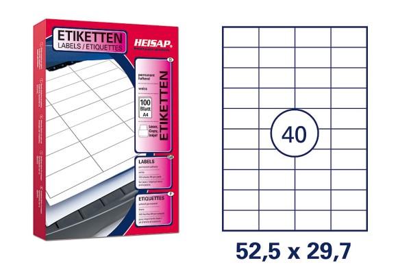 HEISAP HEI 004 Drucker-Etiketten 52,5 x 29,7mm Weiß universal permanent klebend 100 Bogen A4 mit je 40 Etiketten (4000 Etiketten)