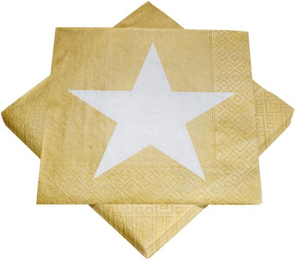 Servietten Serviette Stern gold/weiß 33 x 33 cm Party Weihnachten Deko
