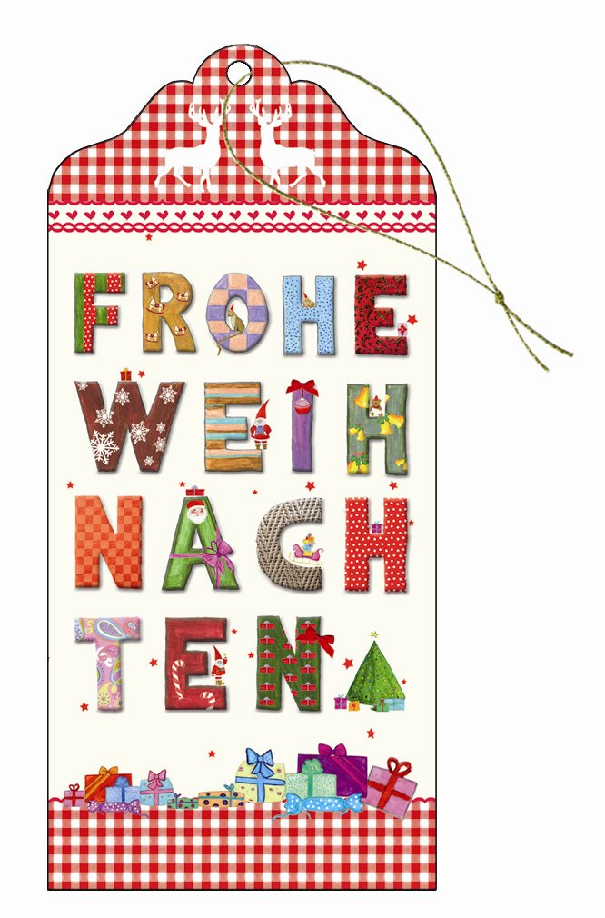 Geschenkanhänger hochwertig Glimmer lang 6,0 x 13,0 cm Frohe ...