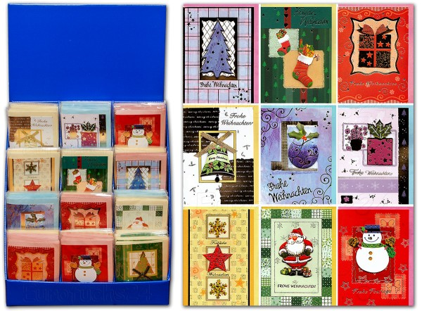 Weihnachtskarten MINI 3D HANDMADE Grußkarten mit Applikationen und farbigen Umschlägen im Verkaufs-Display 22-8831 (180 Karten)