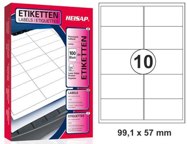 HEISAP HEI 035 Drucker-Etiketten 99,1 x 57mm Weiß universal permanent klebend 100 Bogen A4 mit je 10 Etiketten (1000 Etiketten)