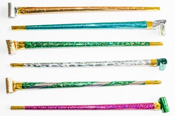 Luftrüssel LASER XL mit Tröte Metallic verschiedene Farben 32cm Lufttröte Party (25 Stück)