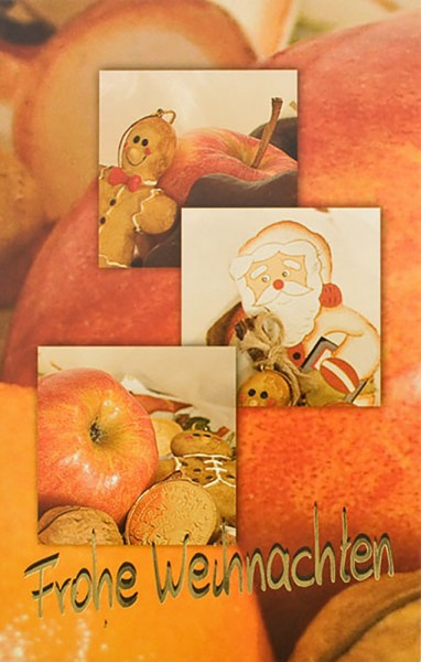 Weihnachtskarten Grußkarten Weihnachtsbäckerei Äpfel & Nüsse mit Goldfolie plano vorgefalzt bedruckbar 250 g/m² inklusive Umschlägen mit Seidenfutter Mayspies 7770 (20 Stück)