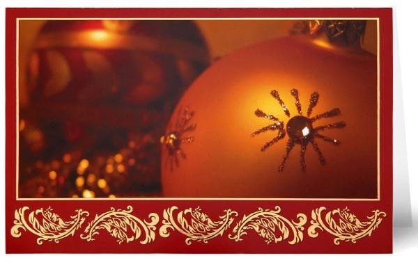 Weihnachtskarten Grußkarten Foto Goldene Weihnachtskugel plano vorgefalzt bedruckbar 260 g/m² inklusive Umschlägen mit Seidenfutter Mayspies 7765 (20 Stück)