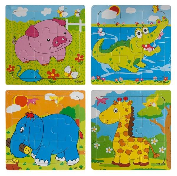 Puzzles Puzzle Tiere 14,8x14,8 cm je 9 tlg. Tiere Bunt hochwertig Mitgebsel (3 Stück)