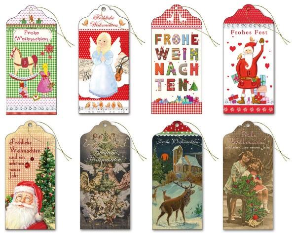 Geschenkanhänger hochwertig Glimmer lang  6,0 x 13,0 cm  Frohe Weihnachten Nostalgie S3 (80 Stück)
