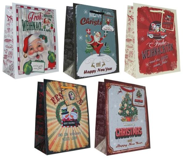 Geschenktüten Weihnachten 23x18x10 Weihnachtstüten Vintage Retro 22-0408-2 (10 Stück)