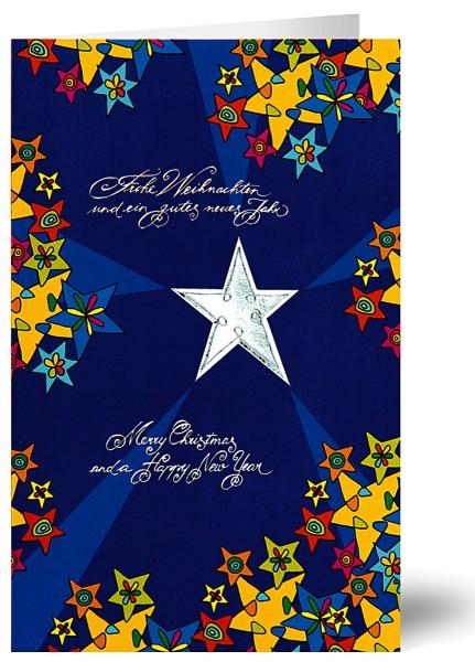 Weihnachtskarten Grußkarten Sternenreigen geprägt mit Silberfolie plano vorgefalzt bedruckbar 250 g/m² inklusive Umschlägen mit Seidenfutter Mayspies 7879 (20 Stück)