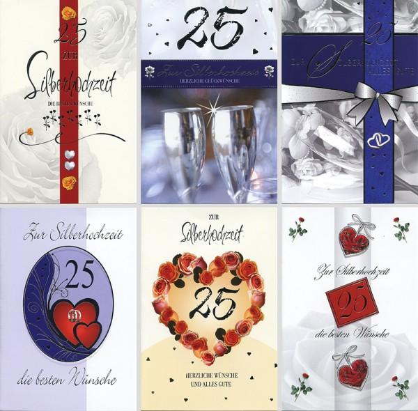 Grußkarten Silberhochzeit 6 Motive Hochzeit Glückwunschkarten NEU 71-1600 (100 Stück)