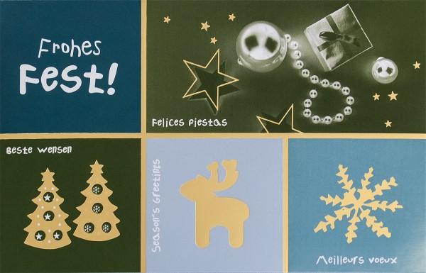 """Weihnachtskarten bedruckbar international """"Frohes Fest"""" 5 Sprachen plano vorgefalzt 250 g/m² Grußkarten inklusive Umschlägen Mayspies 7767 (20 Stück)"""