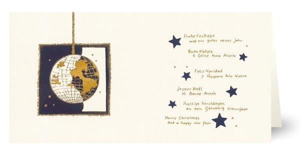Weihnachtskarten bedruckbar international Weltkugel geprägt plano vorgefalzt 230 g/m² Grußkarten inklusive Umschlägen Mayspies 7985 (20 Stück)