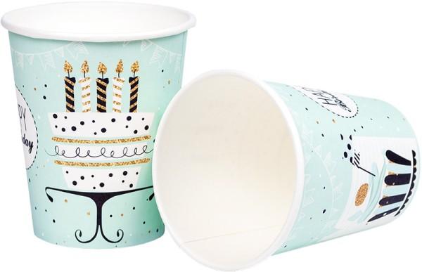 Partybecher Trinkbecher Becher Mint Birthday 0,25l Geburtstag Gold Torte