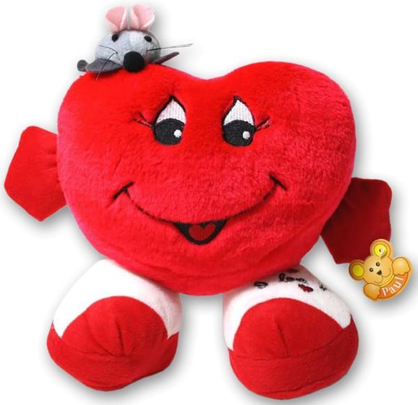 Herzkissen 15 cm Plüsch stehend Arme mit Maus Rot Herz Kissen Valentinstag (1 Stück)
