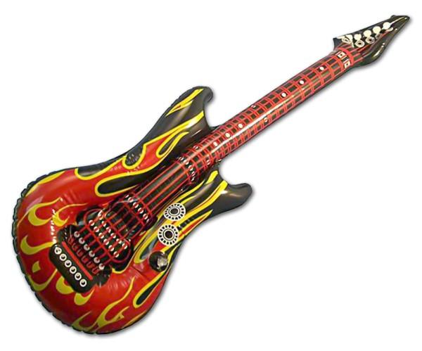 Aufblasbare Gitarre mit Flammen Luftgitarre 100 cm Party Scherzartikel (2 Stück)