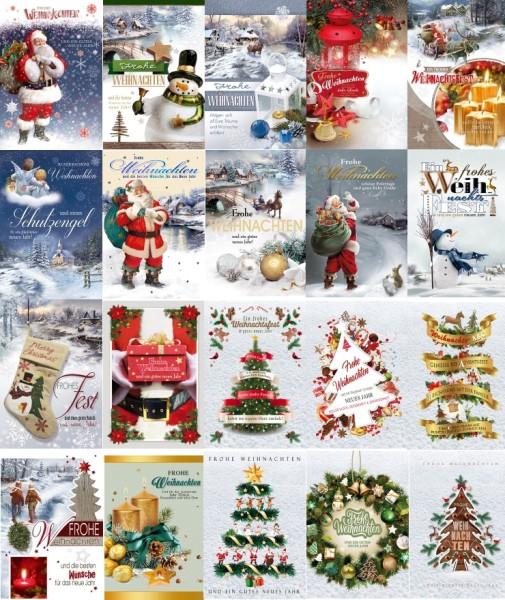 Weihnachts-Postkarten div. Motive Grußkarten Weihnachten Neujahr 22-1010 (100 Stück)