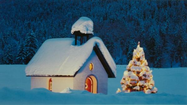 Weihnachtskarten Grußkarten Kapelle Tannenbaum im Schnee plano vorgefalzt bedruckbar 230 g/m² inklusive Umschlägen Mayspies 7032 (20 Stück)