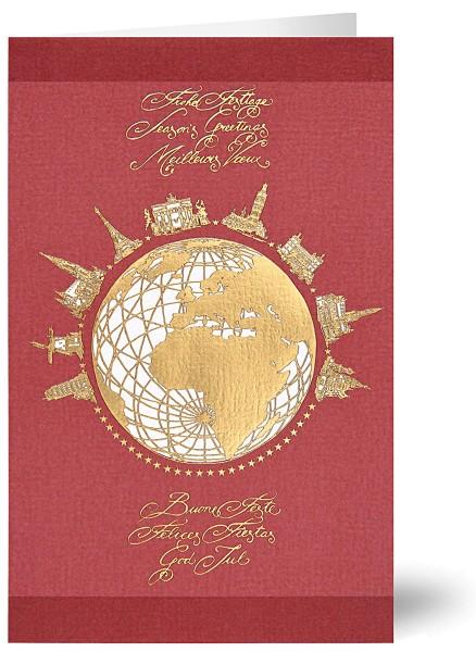 Weihnachtskarten Grußkarten Globus und Wahrzeichen der Welt internationale Wünsche Strukturpapier geprägt mit Goldfolie plano vorgefalzt bedruckbar 200 g/m² inklusive Umschlägen mit Seidenfutter Mayspies 7880 (20 Stück)