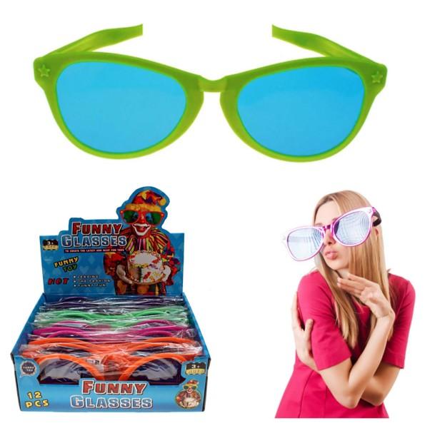 Riesen-Partybrille 26x9x16cm XXL Karneval-Brille Jumbo-Scherzbrille Display (12 Stück)