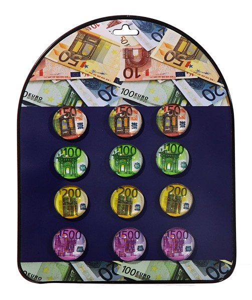 Kühlschrankmagnete Kühlschrankmagnet Magnet Glas 35 mm Euro Scheine Büro (20 Stück)