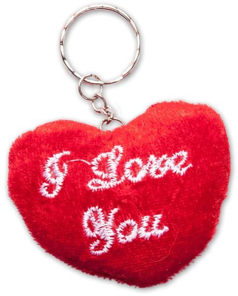 Schlüsselanhänger Liebes-Plüschherz Rot I love You Valentinstag Liebe Plüsch (60 Stück)