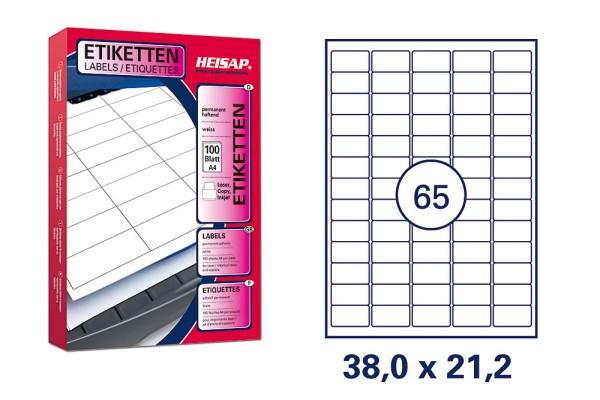HEISAP HEI 001 Drucker-Etiketten 38 x 21,2mm Weiß universal permanent klebend 100 Bogen A4 mit je 65 Etiketten (6500 Etiketten)
