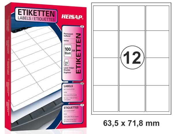 HEISAP HEI 036 Drucker-Etiketten 63,5 x 71,8mm Weiß universal permanent klebend 100 Bogen A4 mit je 12 Etiketten Markenware (1200 Etiketten)
