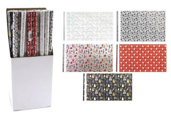 Geschenkpapier 5 Motive Weihnachtsgeschenkpapier ca 200x70cm Weihnachten Papier (0,50€/m²) (10 Rollen)