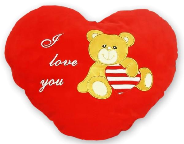 """Herzkissen 50 cm Plüsch """"i love you"""" mit Teddy flauschig Herz Kissen Liebe"""