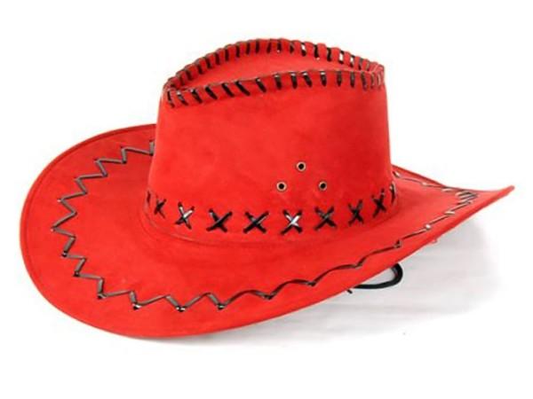 Cowboyhut Hut Rot Westernhut Western Kostüm Karneval Fasching Party (1 Stück)