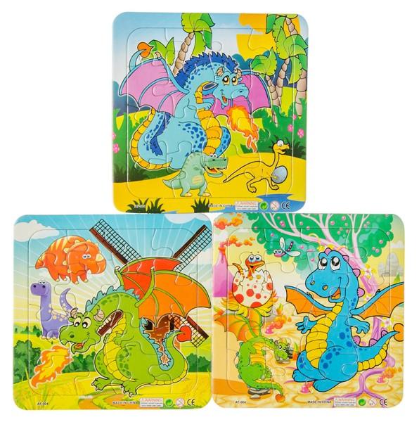 Puzzles Puzzle ver.Dinomotive 14 x 14 cm 16 tlg. Tiere Dinosaurier Mitgebsel