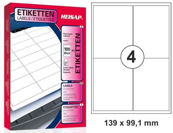 HEISAP HEI 033 Drucker-Etiketten 139 x 99,1mm Weiß universal permanent klebend 100 Bogen A4 mit je 4 Etiketten (400 Etiketten)