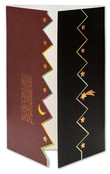 Weihnachtskarten bedruckbar international Sternentreppe plano vorgefalzt 250 g/m² Grußkarten inklusive Umschlägen Mayspies 7878 (20 Stück)