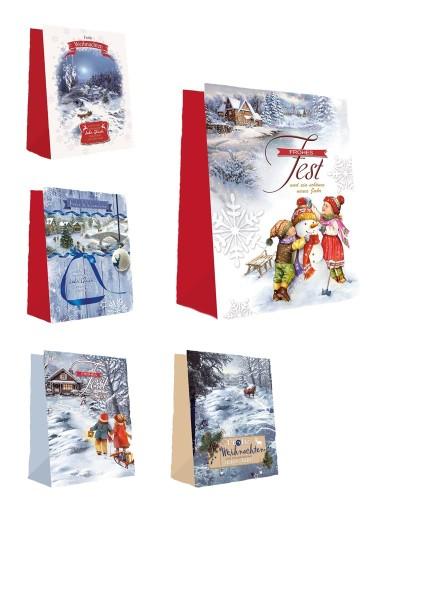 Geschenktüten Weihnachten 23x18x10 Weihnachtstüten Geschenktasche 22-2025 (10 Stück)