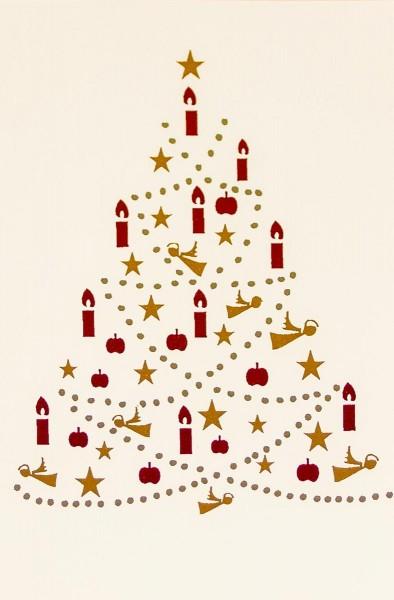 Weihnachtskarten Grußkarten Tanne mit Gold-, Silber- und roter Metallicfolie plano vorgefalzt bedruckbar 260 g/m² inklusive Umschlägen mit Seidenfutter Mayspies 7685 (20 Stück)