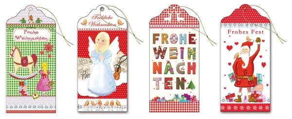 Geschenkanhänger hochwertig Glimmer lang 6,0 x 13,0 cm Fröhliche Weihnachten S2 (40 Stück)